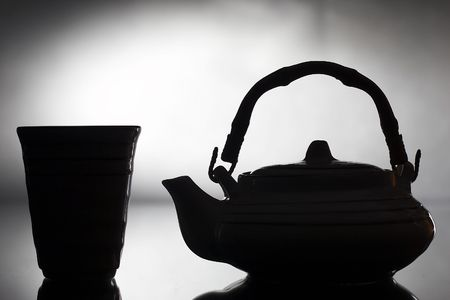 silhouette teapot and cup