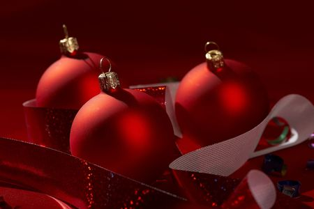 Christmas still life in the red color with holiday ball