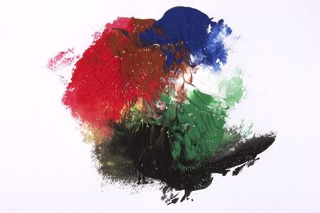 mingle: Mix of some paint colors: red, green, blue and black. Abstract background.