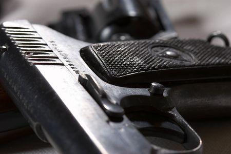 desencadenar: de cerca la vista de la pistola del gatillo y bloqueo de seguridad