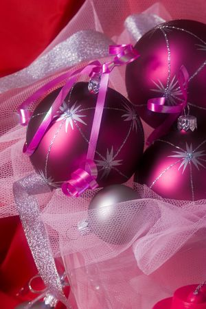 lacet: Christmas preparation: still life with holiday`s balls Stock Photo