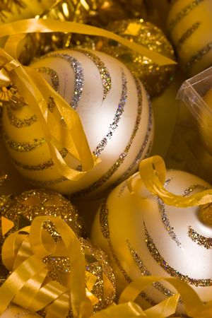 lacet: preparation for Christmas: still life with balls Stock Photo