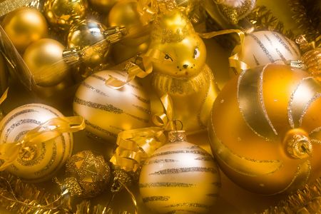 lacet: Christmas still life with balls and toy, use soft filter Stock Photo