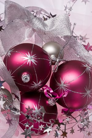 lacet: christmas still life with three pink balls