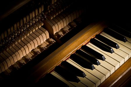 melodic: music series: pianos string on the board and music series: pianos string on the board