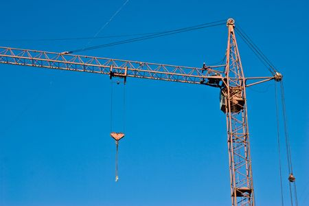 gibbet: construction series: crane with gibbet on the blue sky Stock Photo