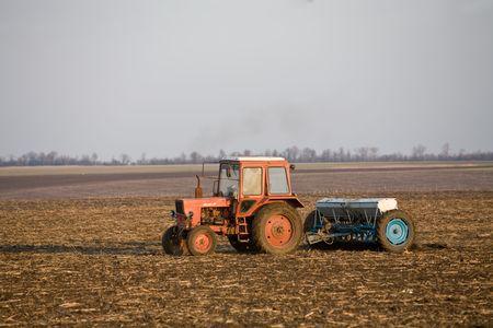 mechanization: farming series: plough up to field, fertilize  ground