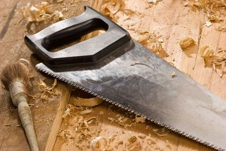 serrucho: serie de herramientas: de mano de madera y cepillo bodegones Foto de archivo