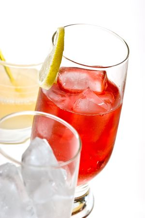 bocal: drink series: red cocktail with ice and lemon