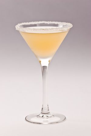 bocal: drink series: light cocktail over gray background