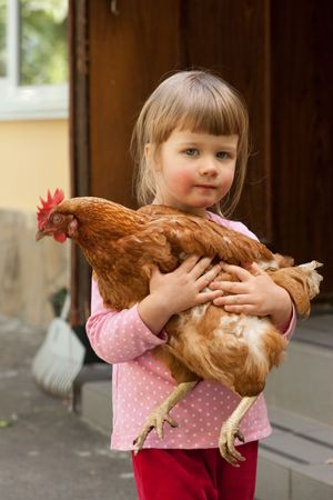 red hen: people series: little girl with red hen