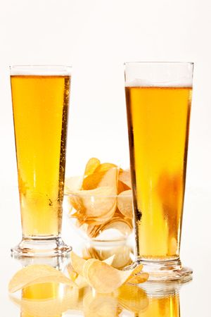 food series: two glasses of beer and a chip photo