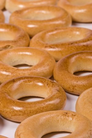 baranka: food series: ring bagel on the white background