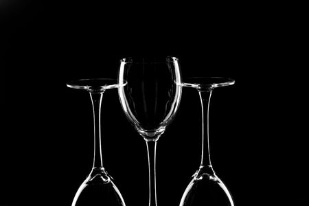 cutglass: Still life with glasses on the black Stock Photo