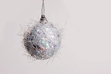 downy: holiday series:  Christmas silver ball, downy texture Stock Photo