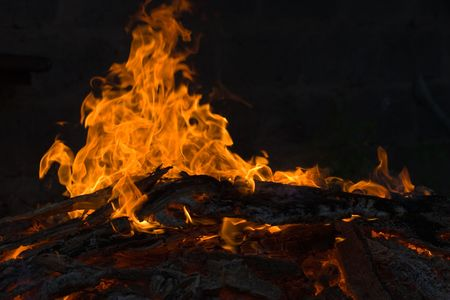 smolder: fire series: burning flame and firewood