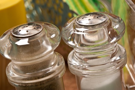 pepperbox: macro picture of salt cellar and pepper box Stock Photo
