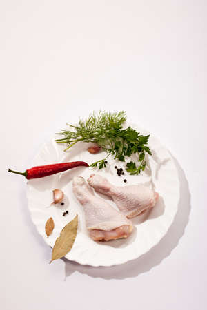 spicery: food series: raw chicken legs with spicery Stock Photo