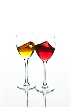 aligote: food series: red and white wine in the goblet