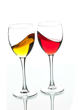 muscadet: food series: red and white wine in the goblet