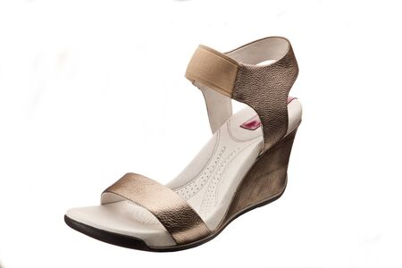ankle strap: new leather sandals over white background Stock Photo