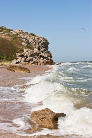 azov sea: stormy weather on the summer azov sea