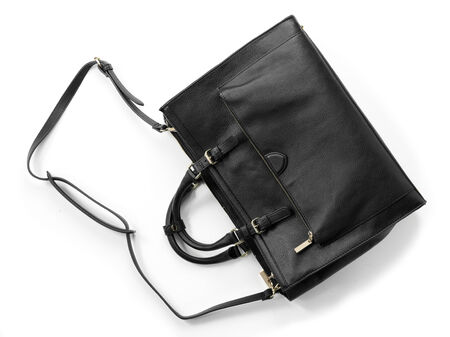 handbag: womans handbag from top view on white background Stock Photo