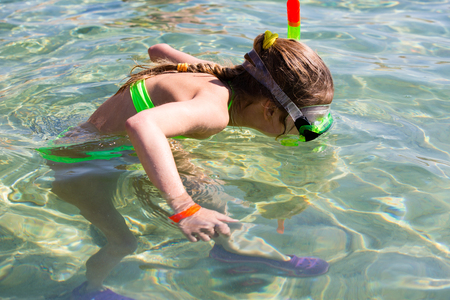 snorkling: Snorkling girl in searching sea habbitant
