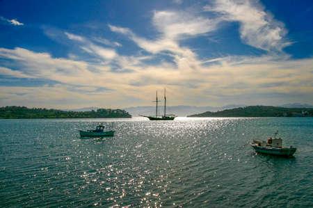 Seascape. Boats in  bay of Porto Cheli, Greece