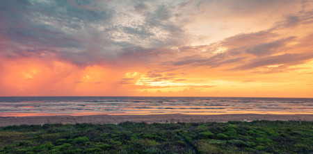 Panoramic Sunrise at beach in Texas