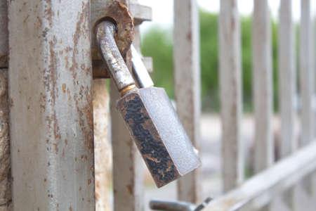 lock in door in the nature background