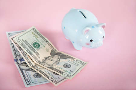 money with piggy bank on the pink background