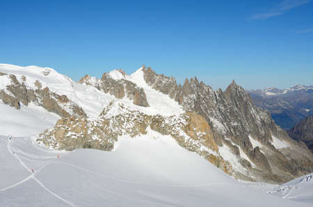 courmayeur: Summit of Mont Blanc massif, Italy Stock Photo