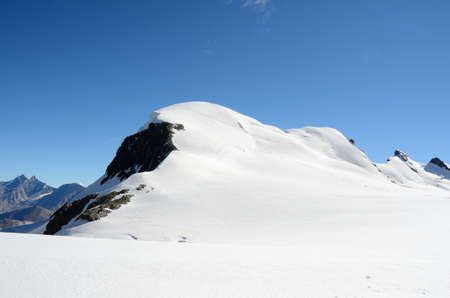 roped: View of the Breithorn summit, Zermatt, Switzerland