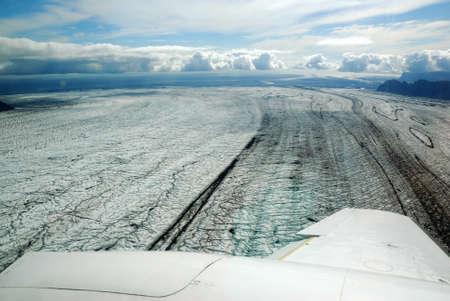 unexplored: Skaftafellsjokull glacier moraine aerial view, Skaftafell National Park, Iceland Stock Photo