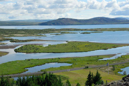 Landscape in the Thingvellir National Park in Iceland Stock Photo