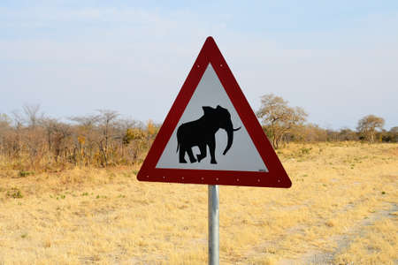 Elephant crossing sign, Botswana