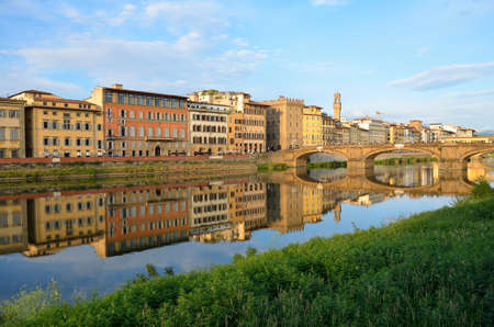 View of Ponte Vecchio at sunset, Florence, Italy