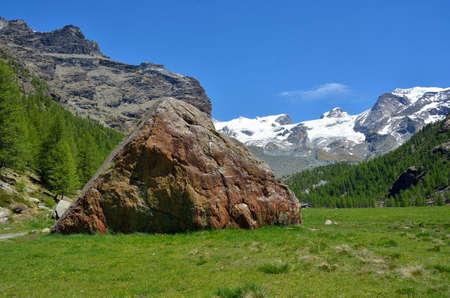 Monte Rosa from Pian di Verra, Valle dAosta, Italy Stock Photo