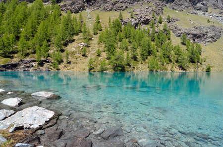 Blue lake, Valle dAosta, Italy Stock Photo
