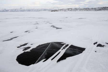 Frozen Tornetrask lake in Swedish Lapland