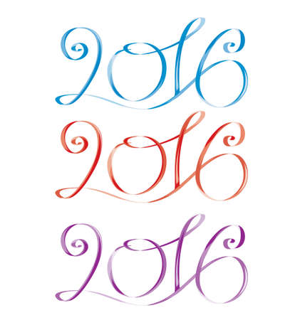serpentines: 2016. Blue, red, violet. Vector isolated image