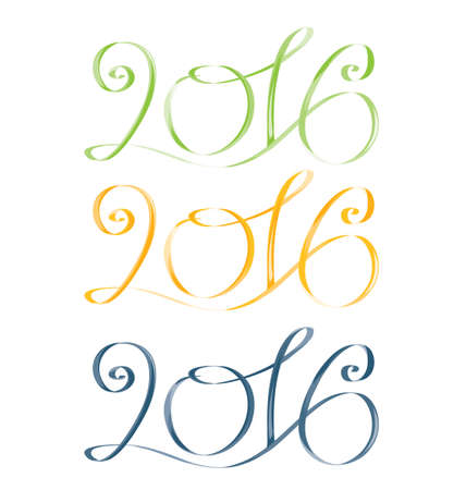 green yellow: 2016. Green, yellow, blue. Vector isolated image Illustration