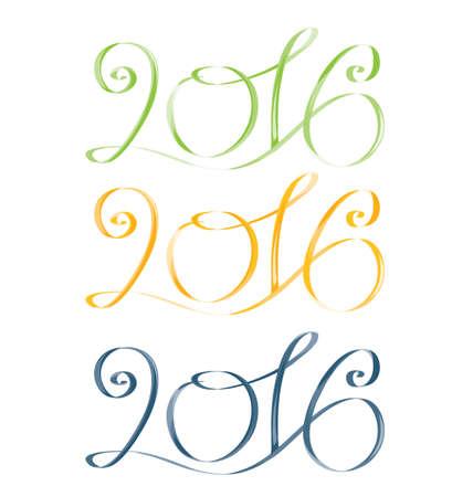 felicitation: 2016. Green, yellow, blue. Vector isolated image Illustration