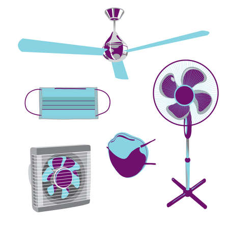 respire: Vector ventilator & medicals mask. Prevention of infections transmitted by airborne droplets Illustration