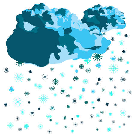 cold weather: Clouds & snowflakes. Vector illustration