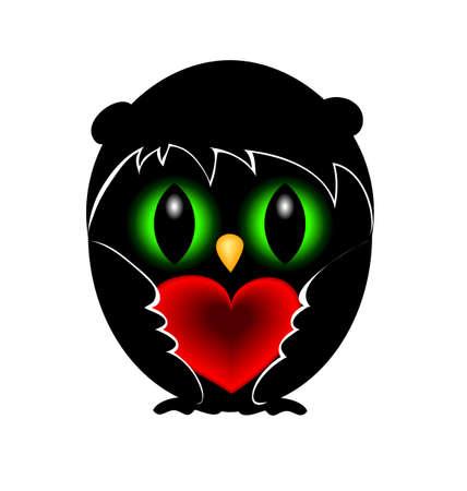 green eyes: Black owl in love. Red heart. Green eyes