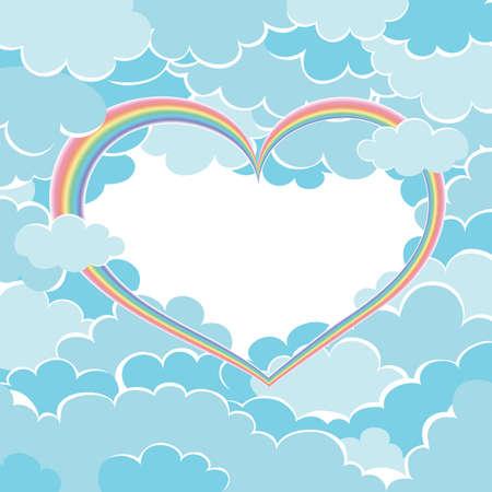rainbow sky: rainbow heart in the sky. Illustration