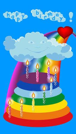 vector greeting card: happy birthday. vector greeting card