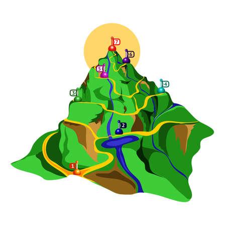 accomplishments: mountain. way to the top. upward. steps. vector illustration